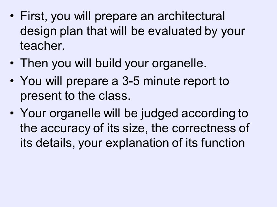 First, you will prepare an architectural design plan that will be evaluated by your teacher.