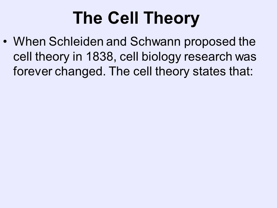 The Cell Theory When Schleiden and Schwann proposed the cell theory in 1838, cell biology research was forever changed.