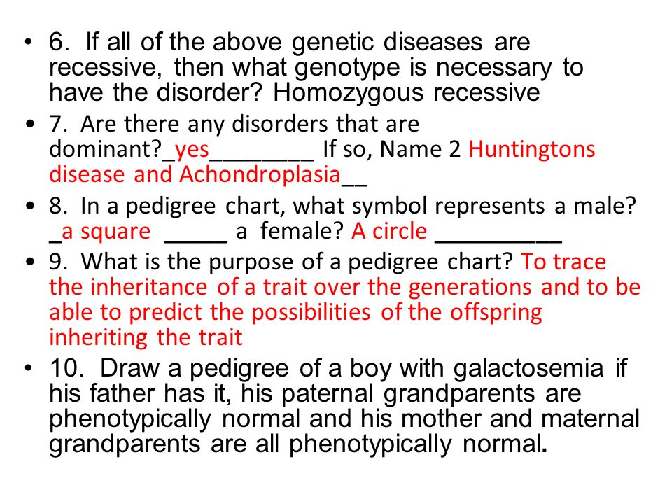 6. If all of the above genetic diseases are recessive, then what genotype is necessary to have the disorder Homozygous recessive