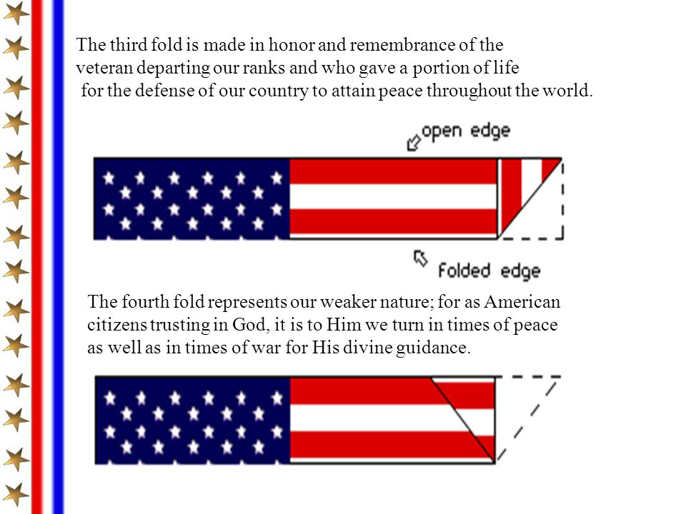 The third fold is made in honor and remembrance of the