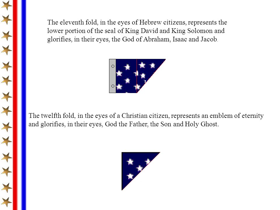 The eleventh fold, in the eyes of Hebrew citizens, represents the lower portion of the seal of King David and King Solomon and glorifies, in their eyes, the God of Abraham, Isaac and Jacob.