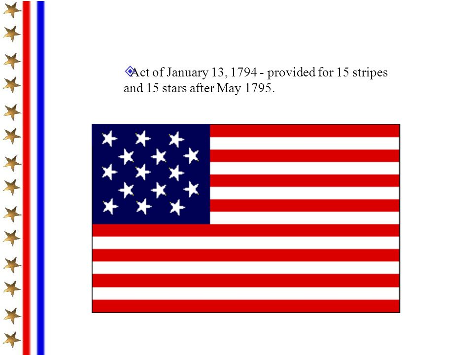 Act of January 13, 1794 - provided for 15 stripes