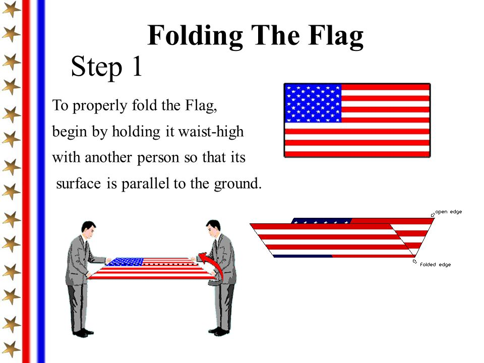 Folding The Flag Step 1 To properly fold the Flag,