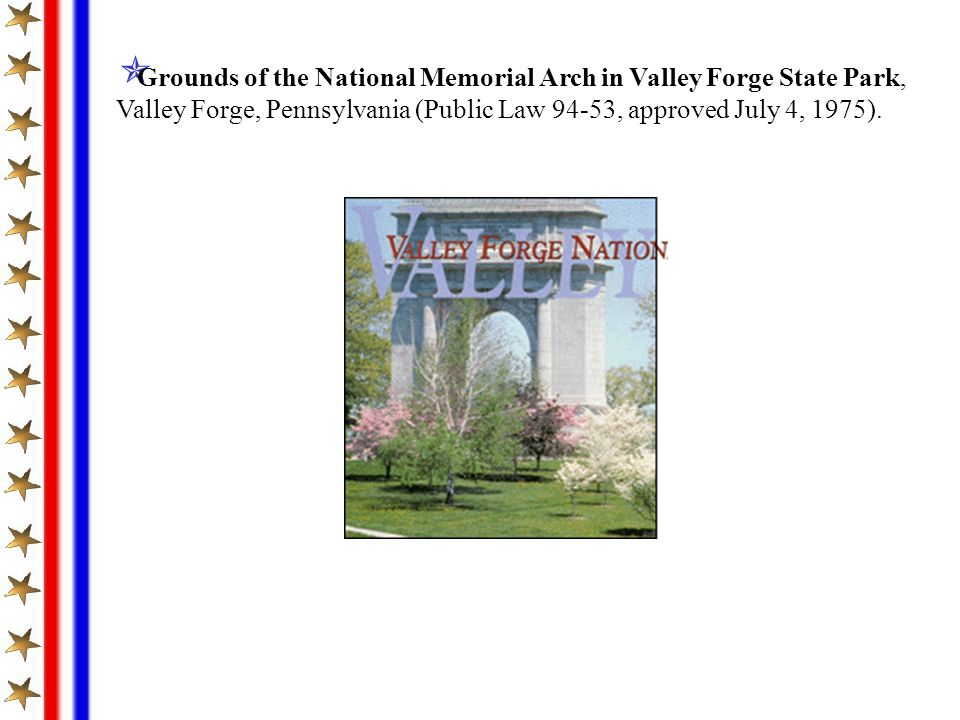 Grounds of the National Memorial Arch in Valley Forge State Park,