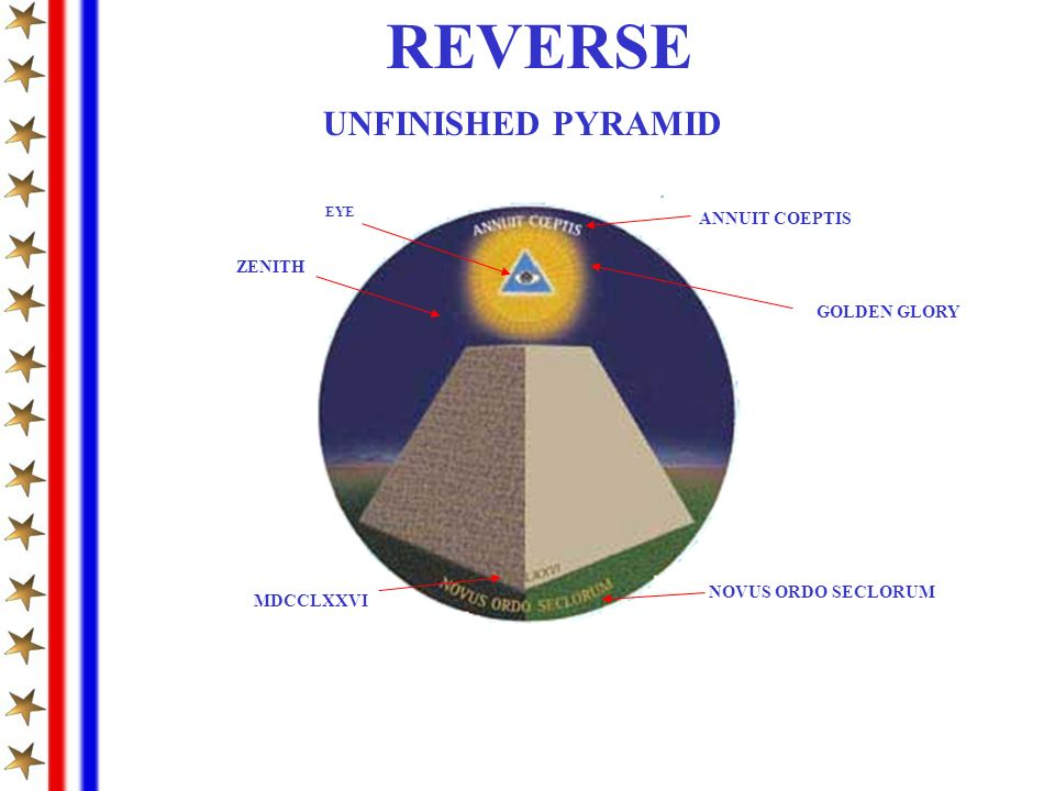REVERSE UNFINISHED PYRAMID ANNUIT COEPTIS ZENITH GOLDEN GLORY