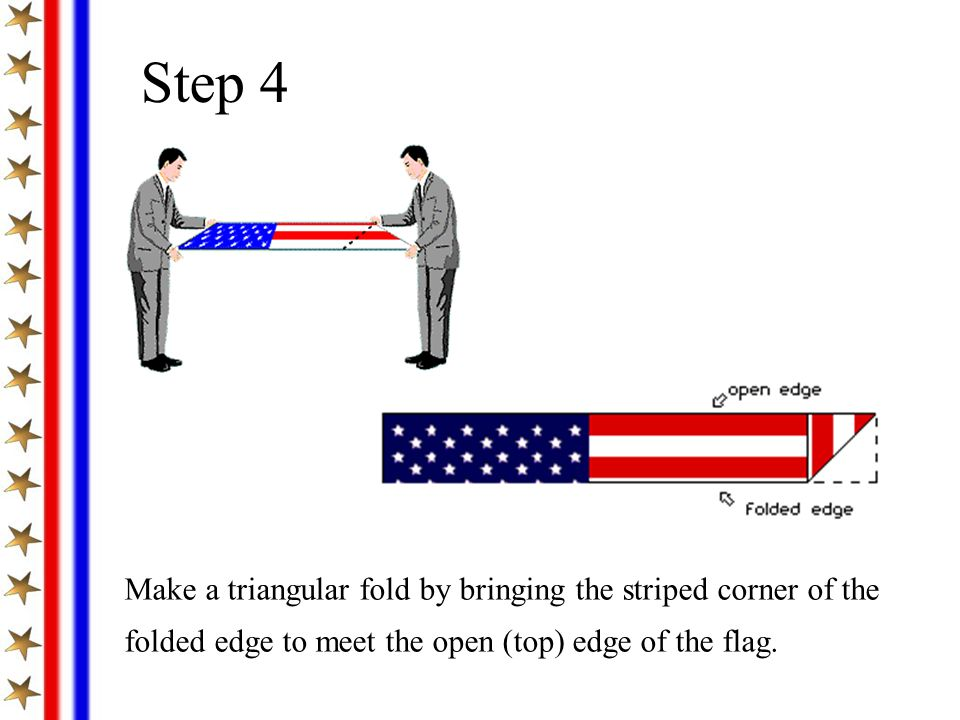 Step 4 Make a triangular fold by bringing the striped corner of the