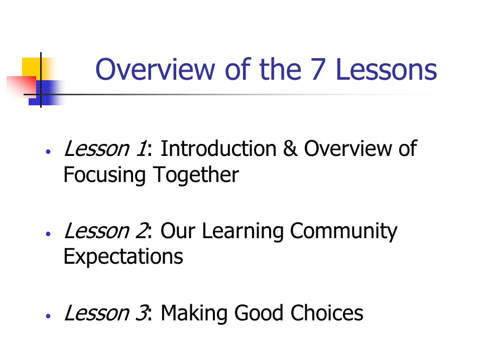 Overview of the 7 Lessons
