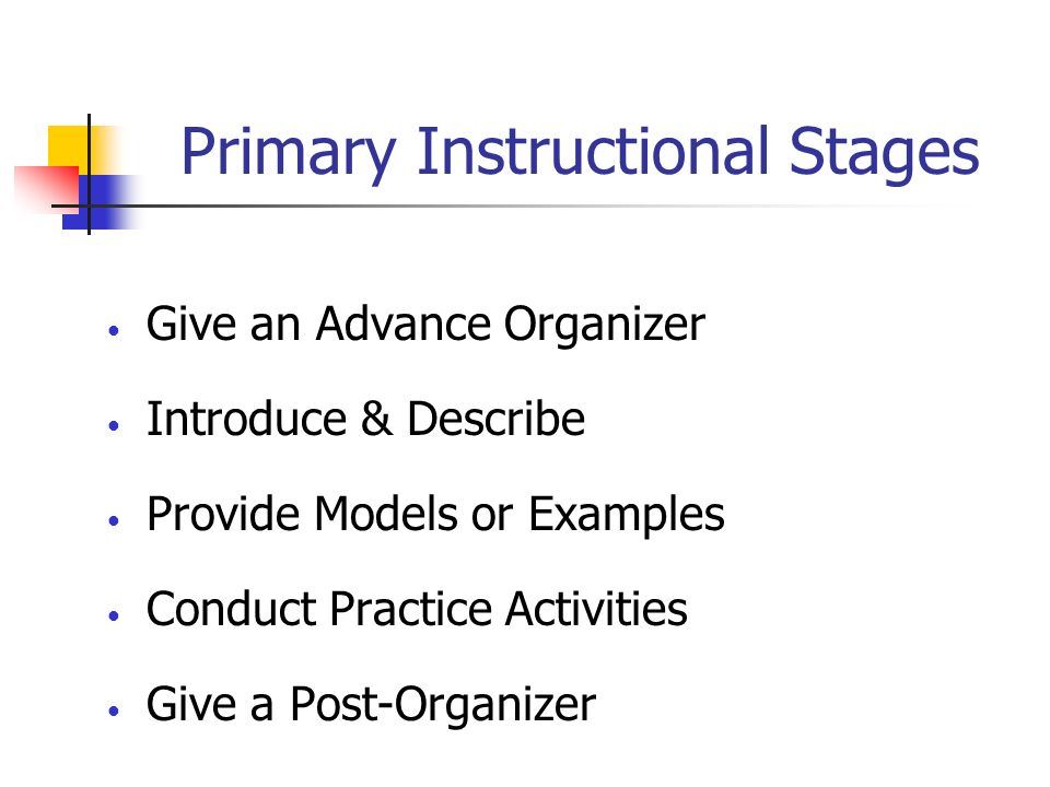Primary Instructional Stages