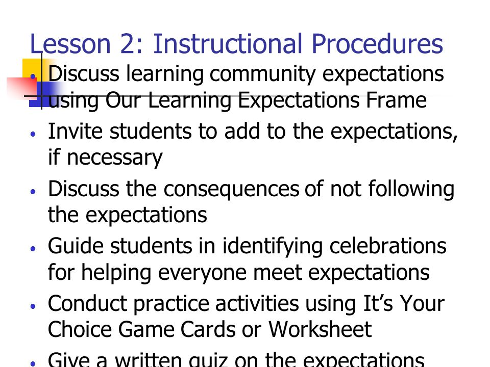 Lesson 2: Instructional Procedures
