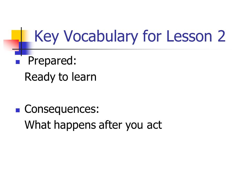 Key Vocabulary for Lesson 2