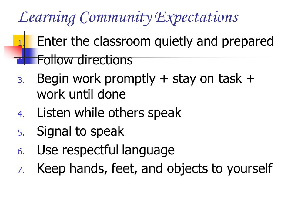 Learning Community Expectations