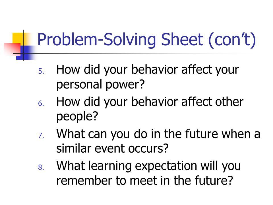 Problem-Solving Sheet (con't)