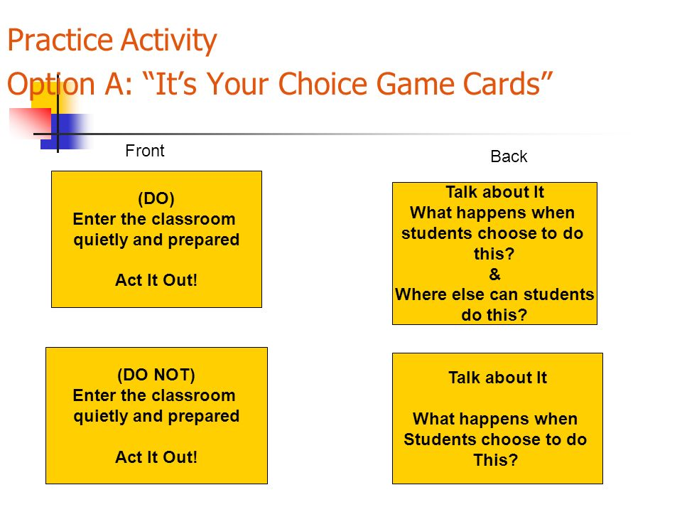 Practice Activity Option A: It's Your Choice Game Cards