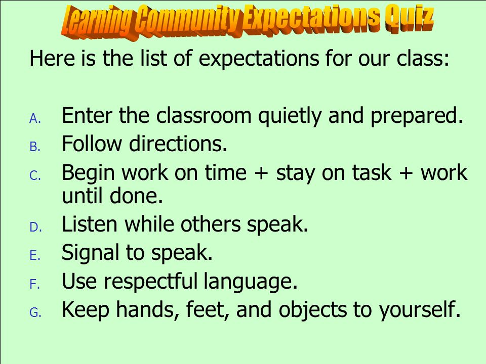 Learning Community Expectations Quiz