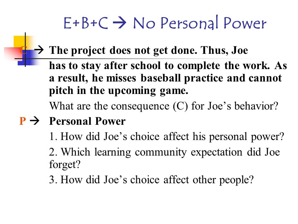 E+B+C  No Personal Power