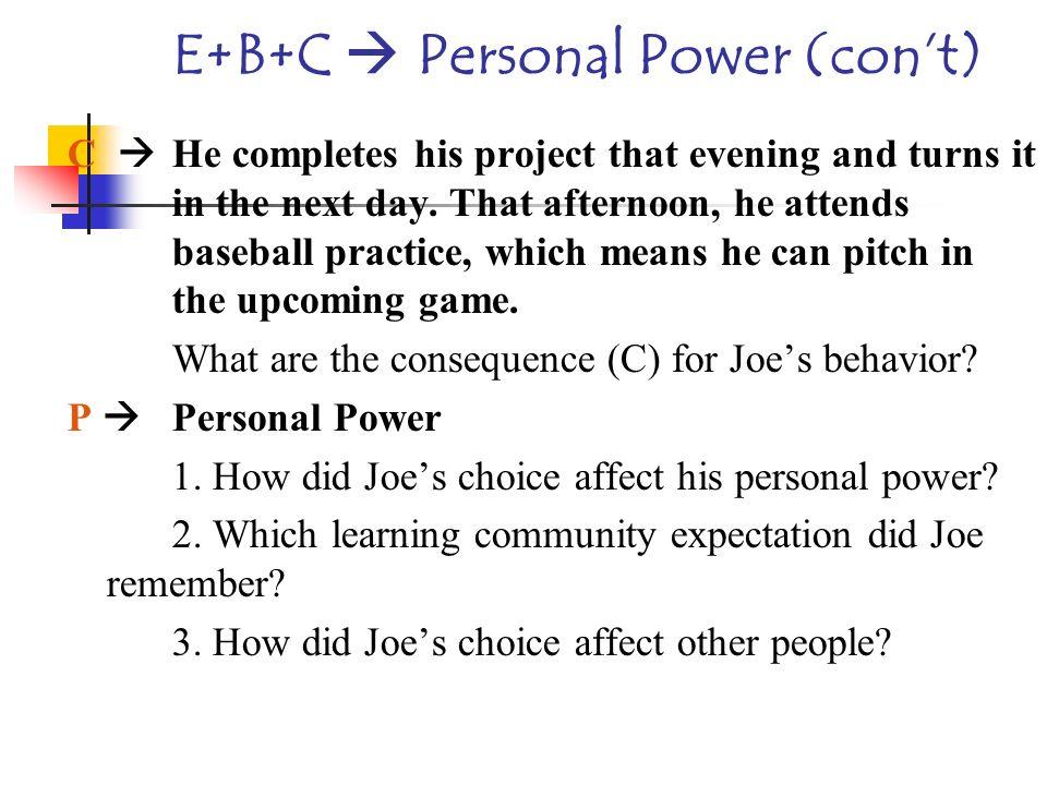 E+B+C  Personal Power (con't)