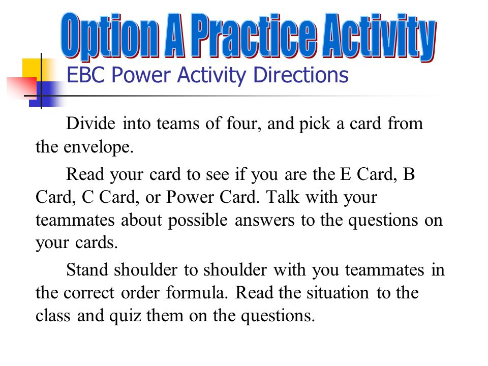 EBC Power Activity Directions