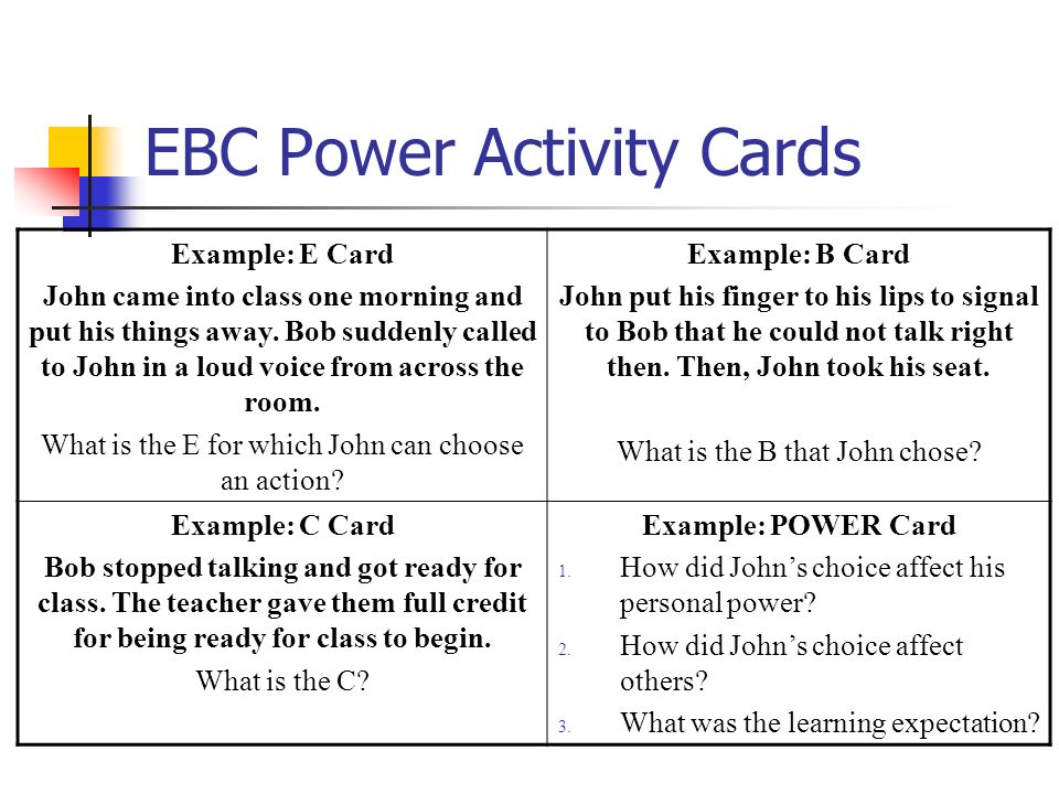EBC Power Activity Cards