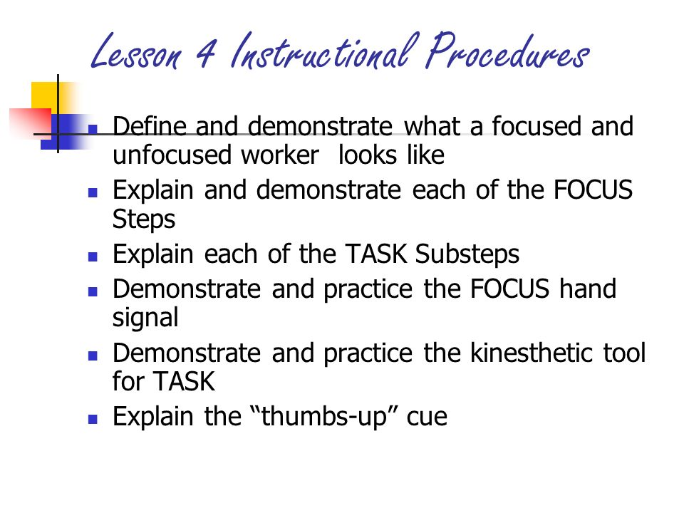 Lesson 4 Instructional Procedures