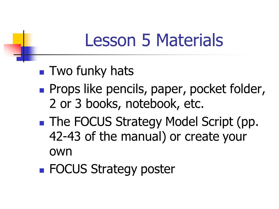Lesson 5 Materials Two funky hats