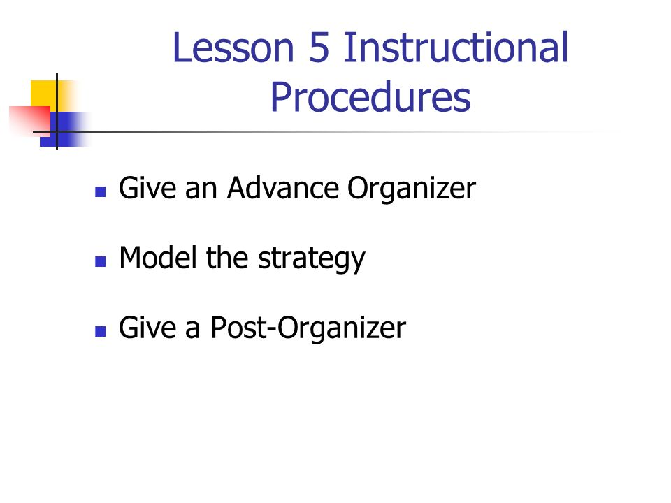 Lesson 5 Instructional Procedures
