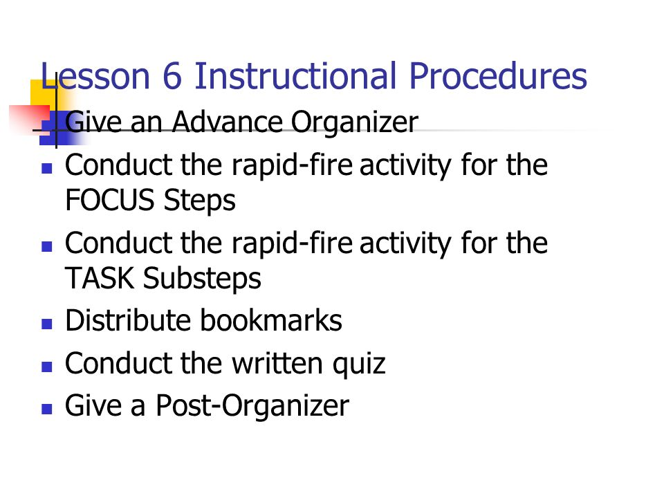 Lesson 6 Instructional Procedures