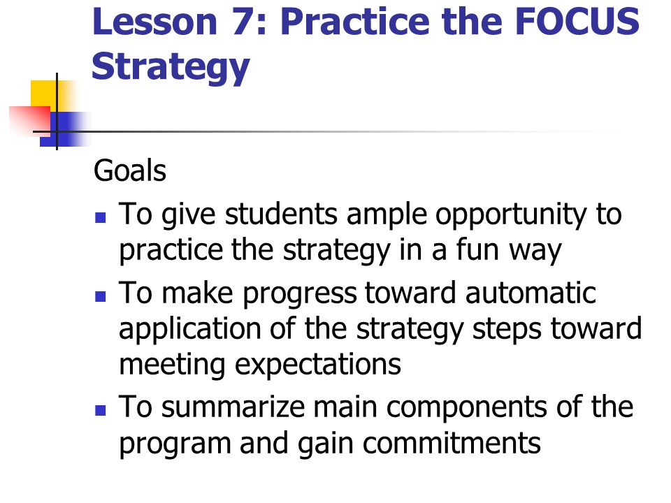 Lesson 7: Practice the FOCUS Strategy