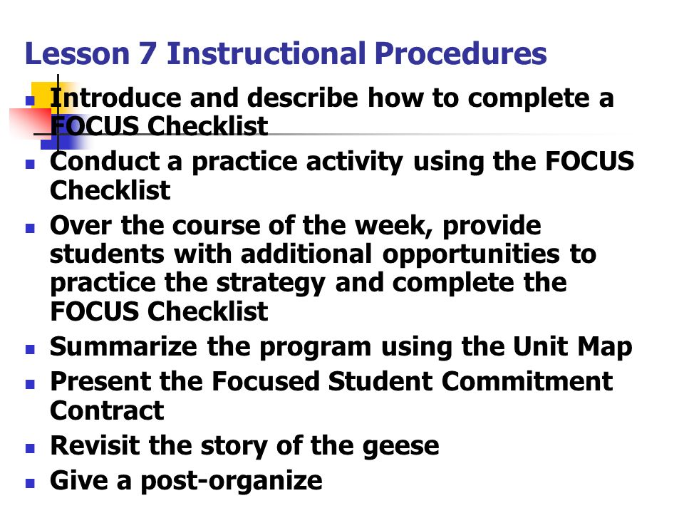 Lesson 7 Instructional Procedures