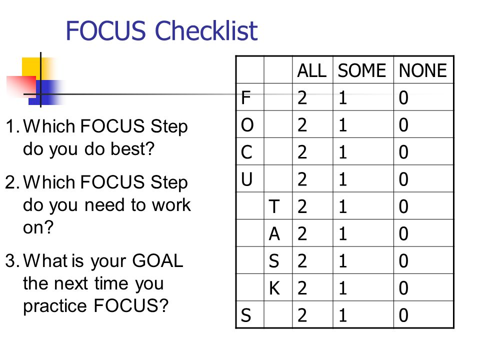 FOCUS Checklist ALL SOME NONE F 2 1 O C U T A S K