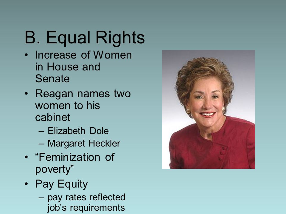 B. Equal Rights Increase of Women in House and Senate