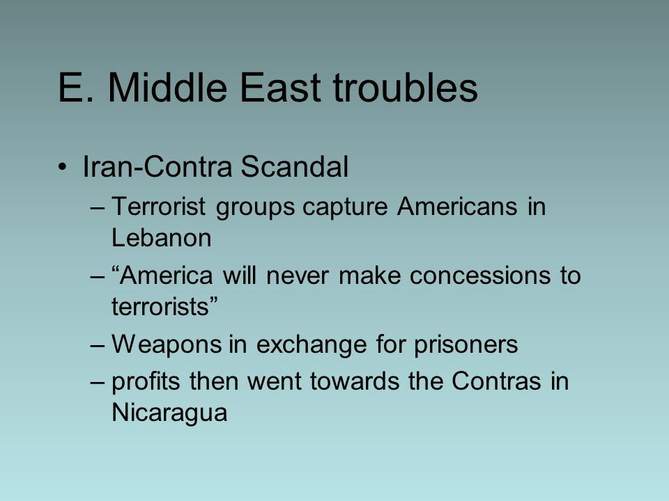 E. Middle East troubles Iran-Contra Scandal