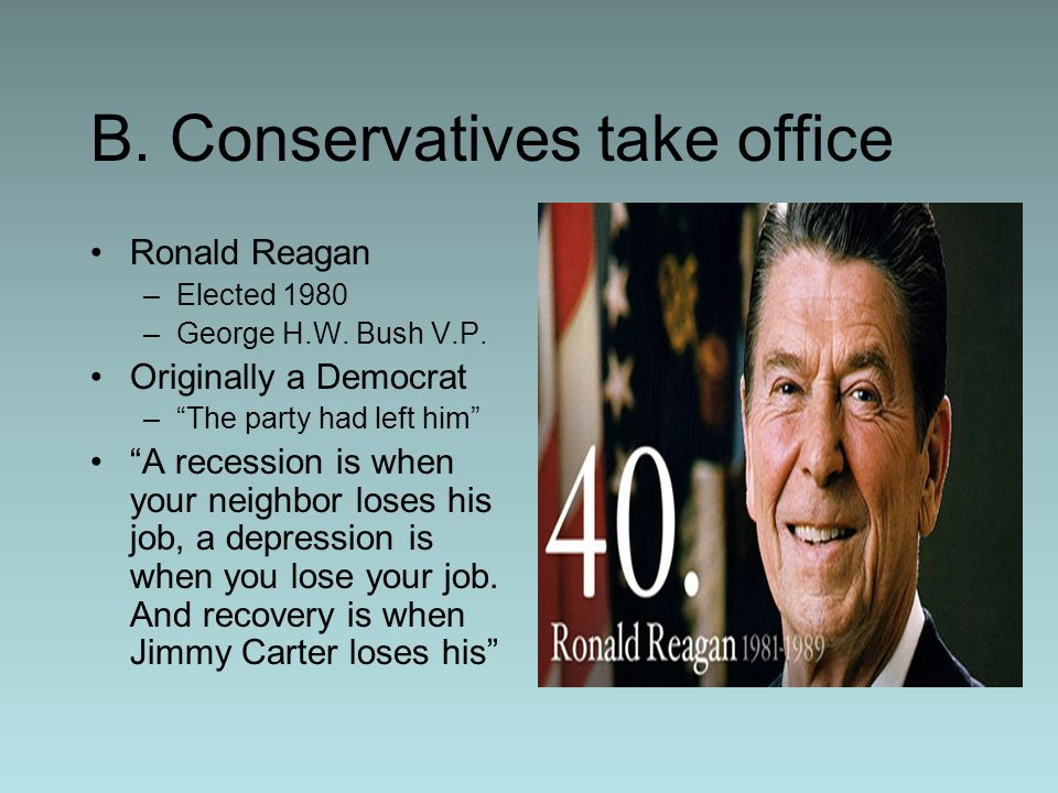 B. Conservatives take office