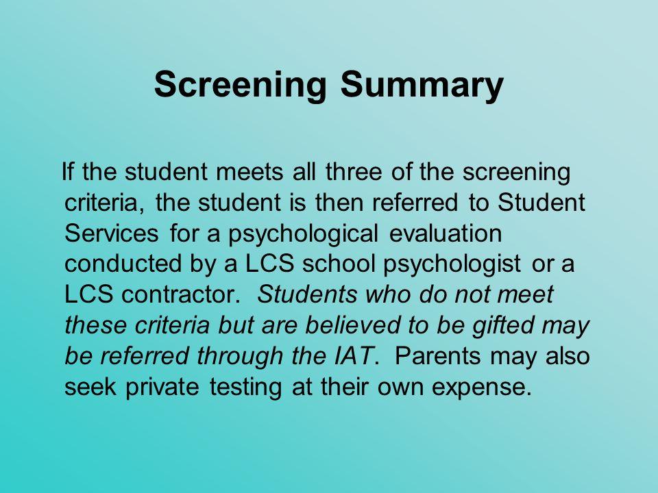 Screening Summary