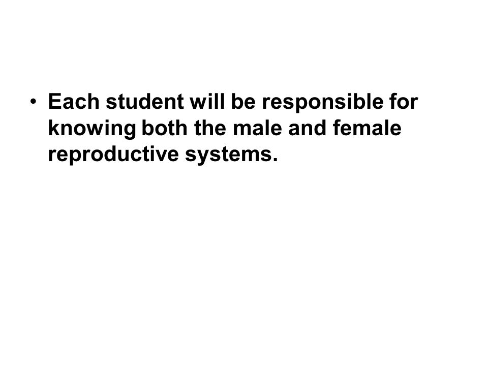 Each student will be responsible for knowing both the male and female reproductive systems.