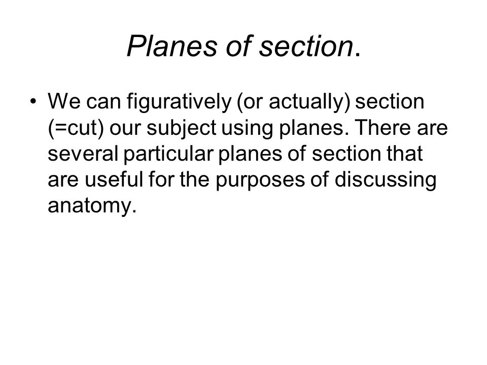 Planes of section.