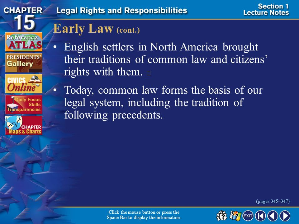 Early Law (cont.) English settlers in North America brought their traditions of common law and citizens' rights with them. 