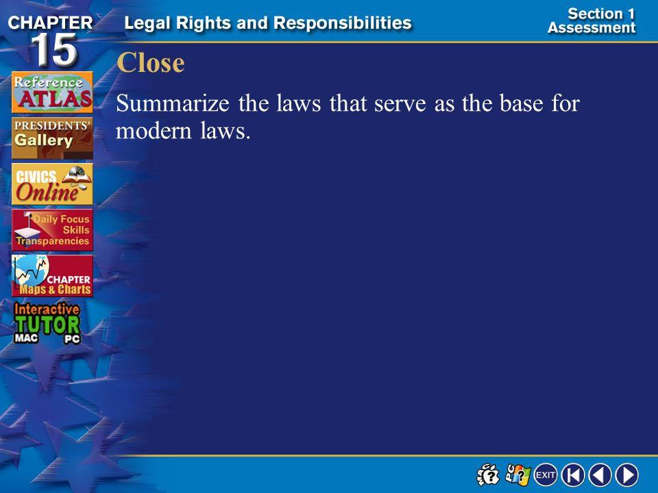 Close Summarize the laws that serve as the base for modern laws.