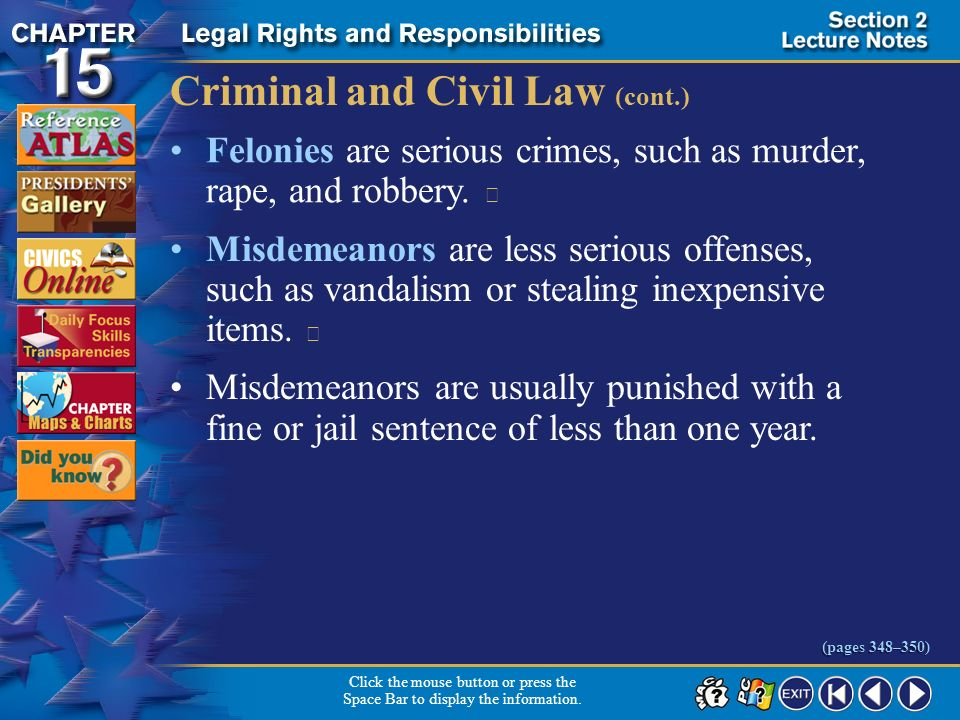 Criminal and Civil Law (cont.)