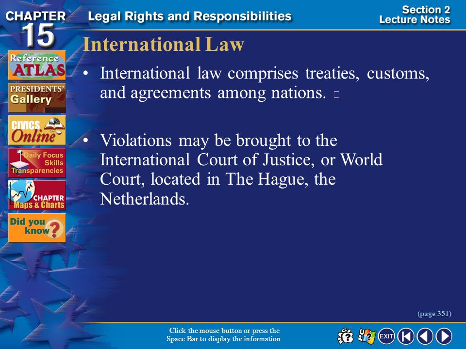 International Law International law comprises treaties, customs, and agreements among nations. 