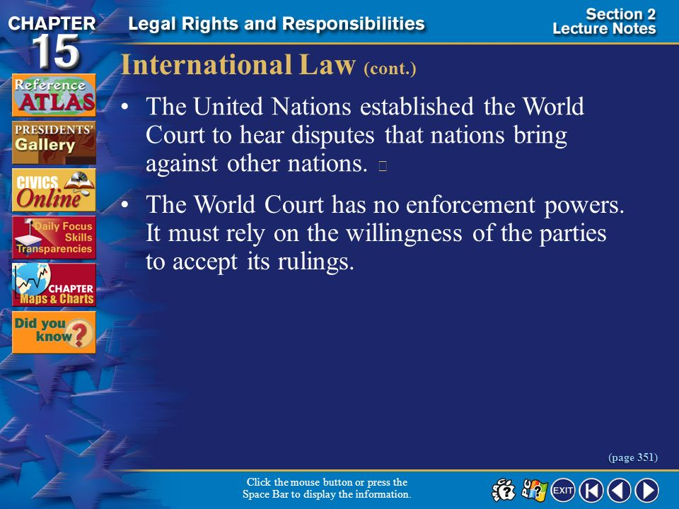 International Law (cont.)