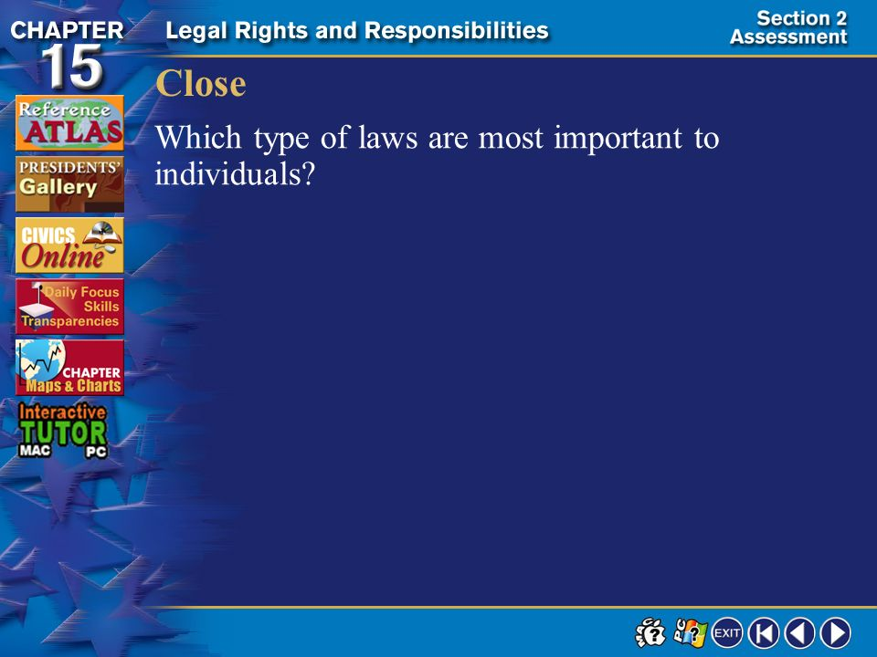 Close Which type of laws are most important to individuals