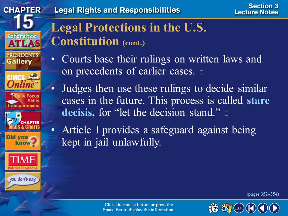 Legal Protections in the U.S. Constitution (cont.)