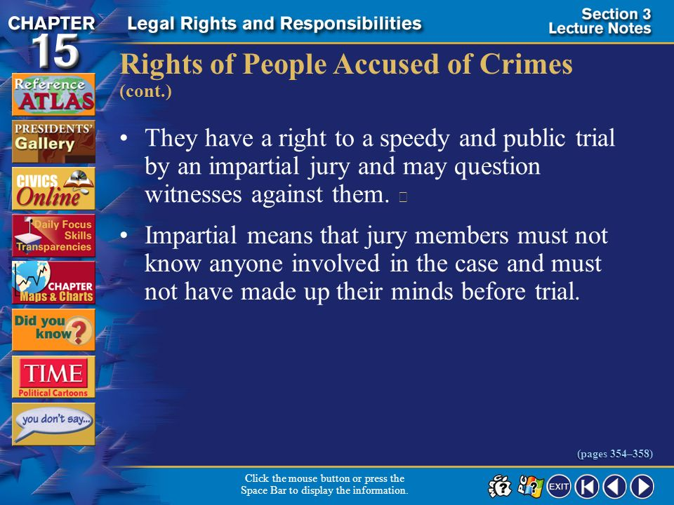 Rights of People Accused of Crimes (cont.)