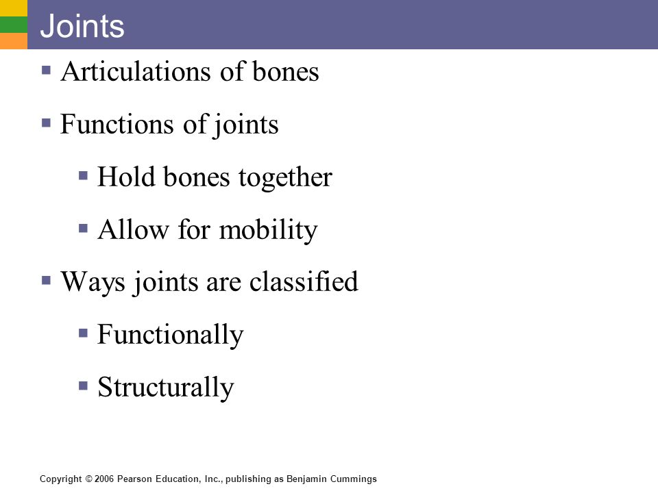 Joints Articulations of bones Functions of joints Hold bones together