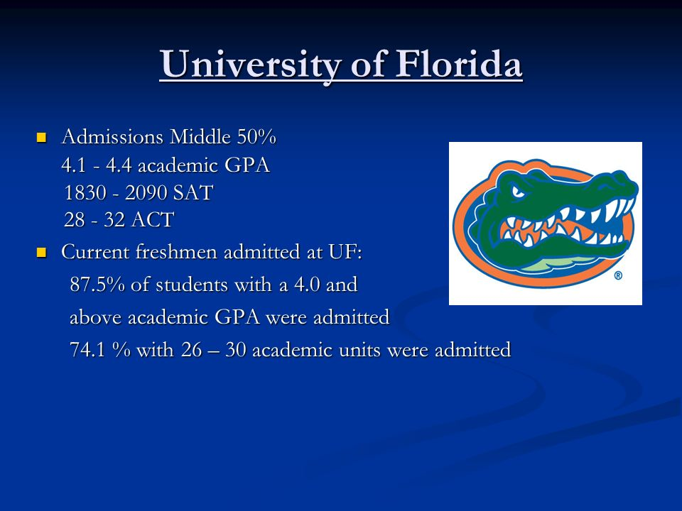 University of Florida Admissions Middle 50% 4.1 - 4.4 academic GPA