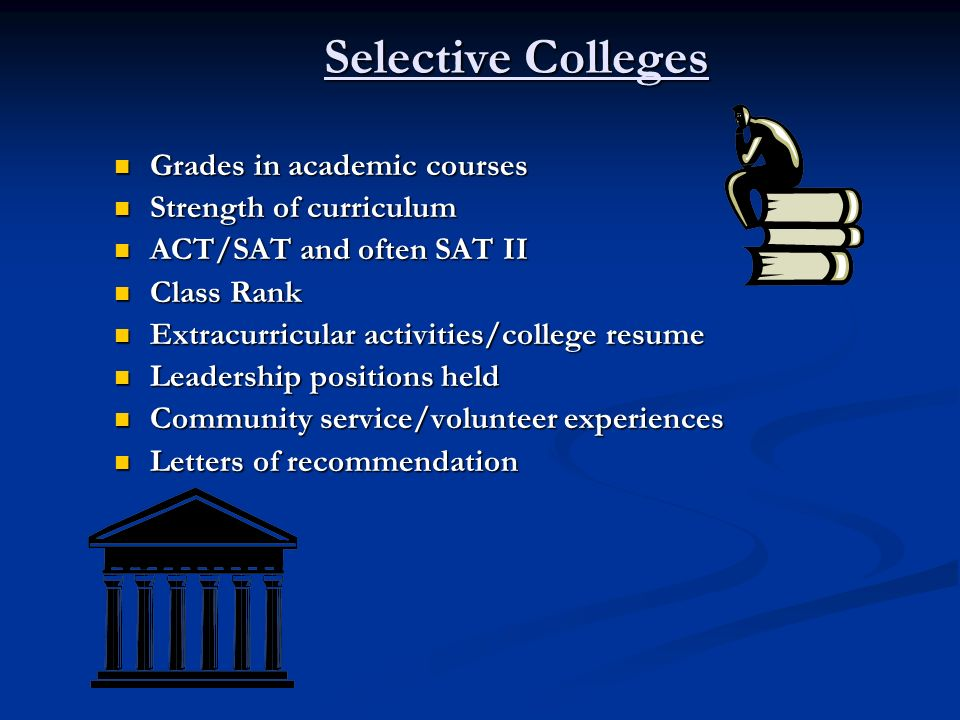 Selective Colleges Grades in academic courses Strength of curriculum