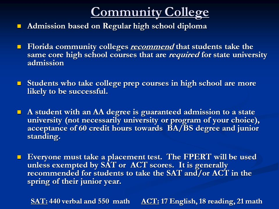 Community College Admission based on Regular high school diploma