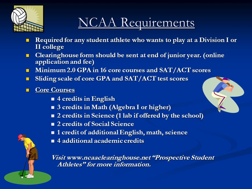 NCAA Requirements Required for any student athlete who wants to play at a Division I or II college.