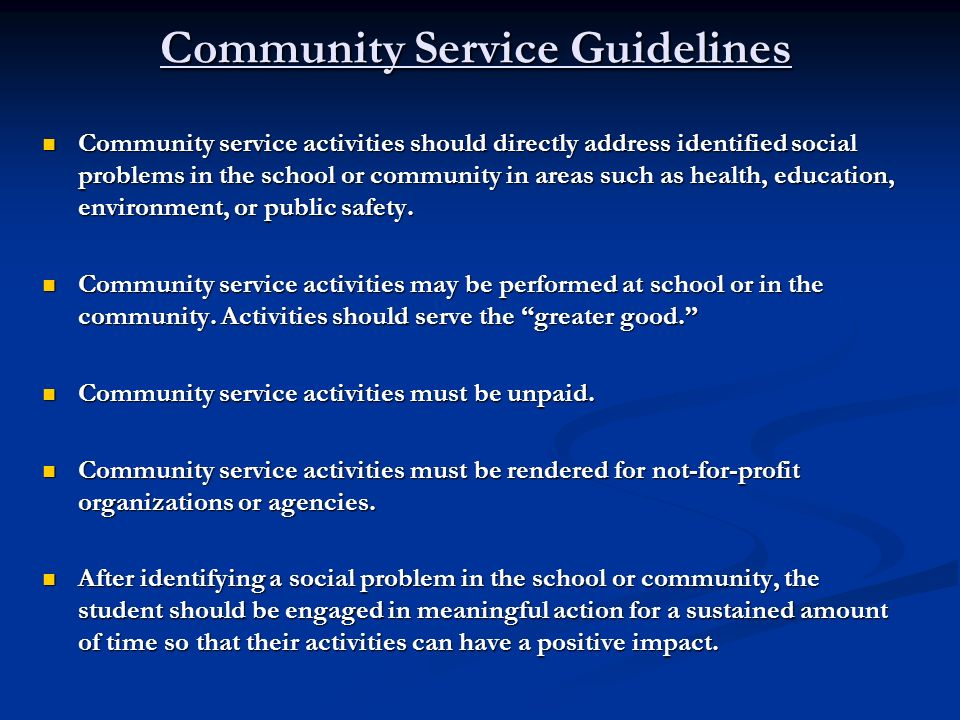 Community Service Guidelines