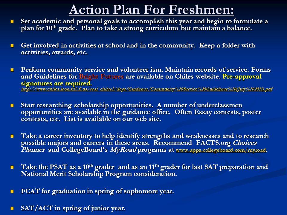 Action Plan For Freshmen: